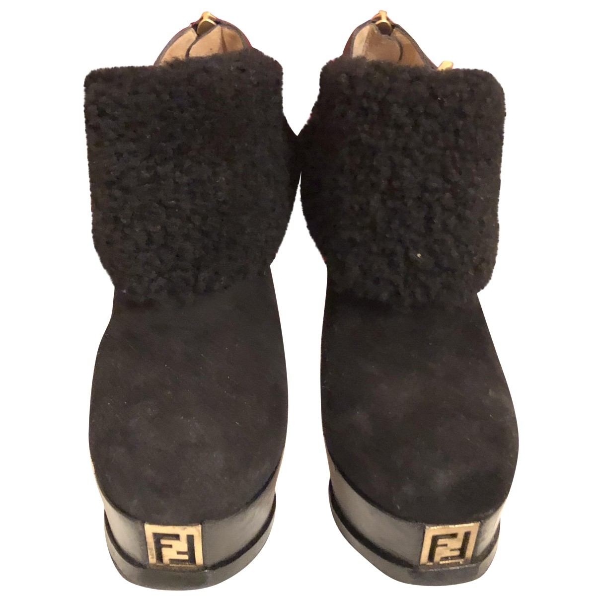 Fendi \N Black Leather Ankle boots for Women 38.5 EU