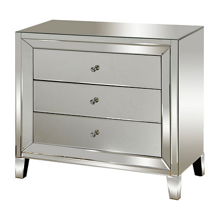 3 Drawer Mirrored Accent Chest, One Size , No Color Family