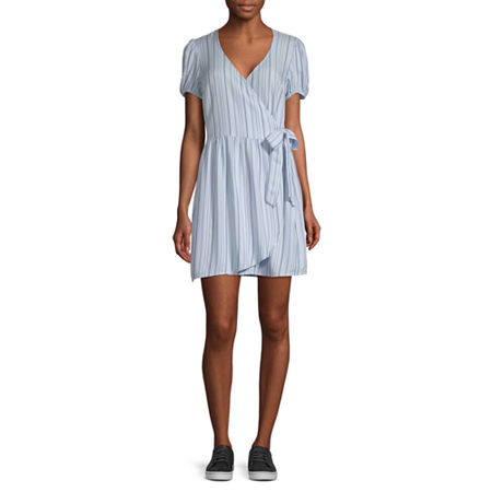 Arizona-Juniors Short Sleeve Striped Wrap Dress, X-small , Blue