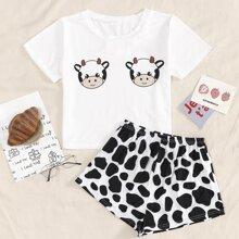 Cartoon Cow Print Pajama Set