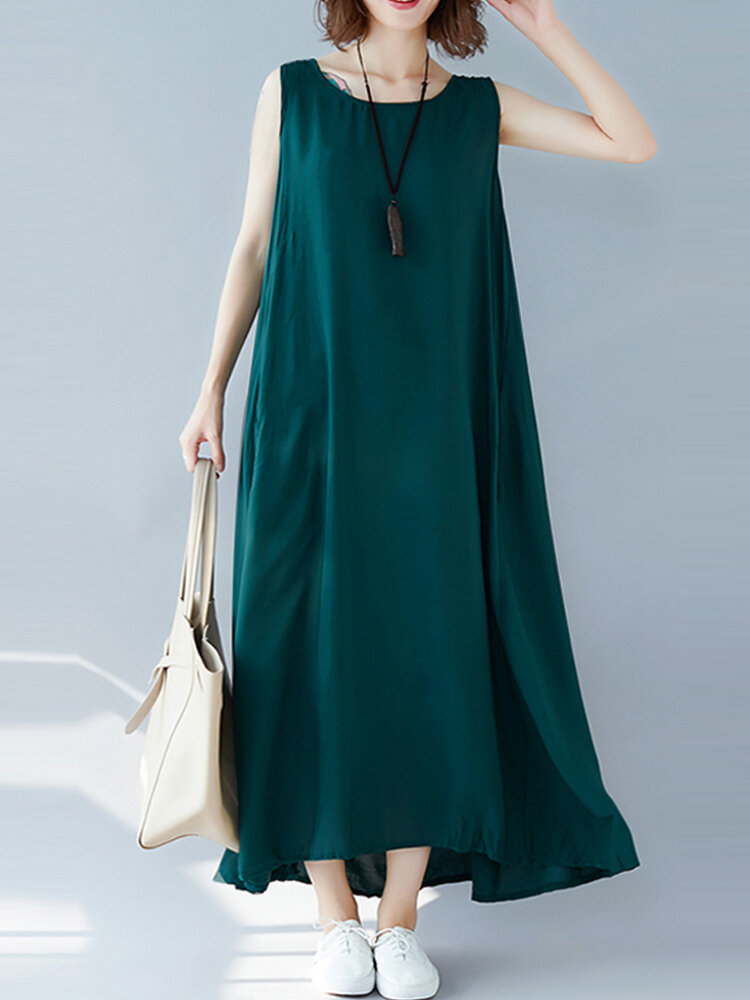 Casual Loose Solid Color Sleeveless Plus Size Dress with Pockets