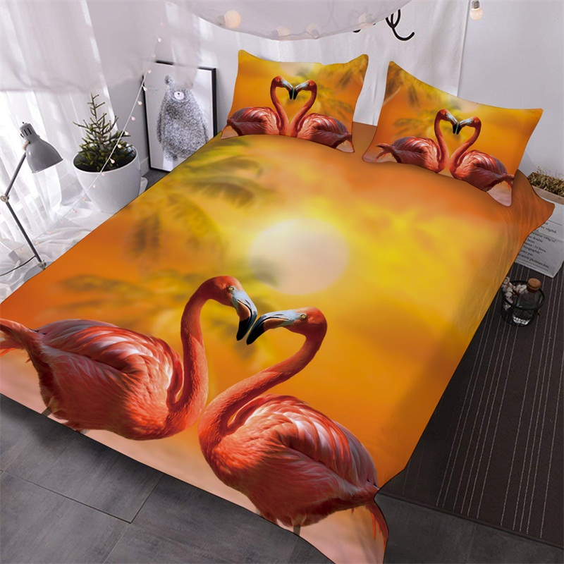 Flamingo 3D Warm Animal Comforter 3-Piece Soft Comforter Sets with 2 Pillowcases