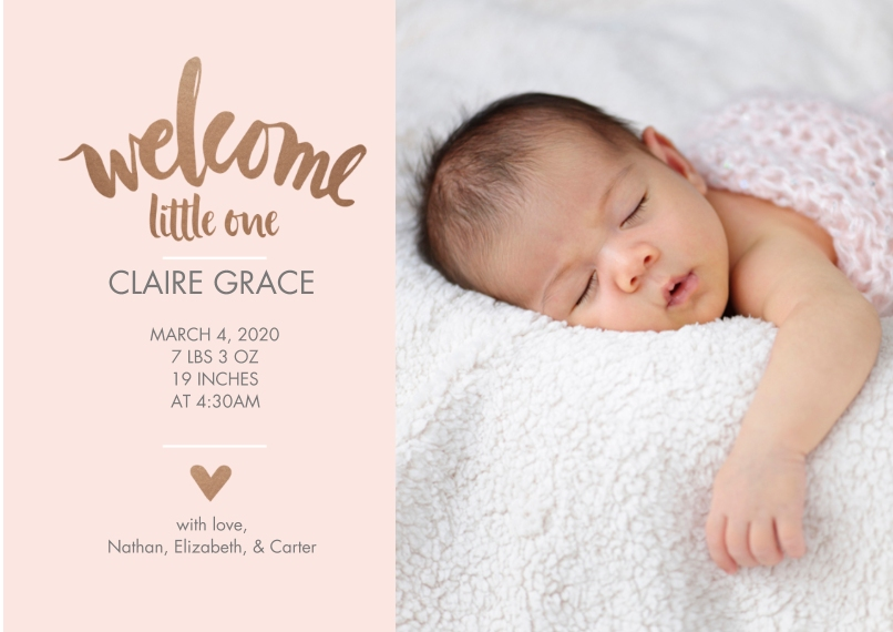 Baby Girl Announcements Flat Glossy Photo Paper Cards with Envelopes, 5x7, Card & Stationery -Little One Pink