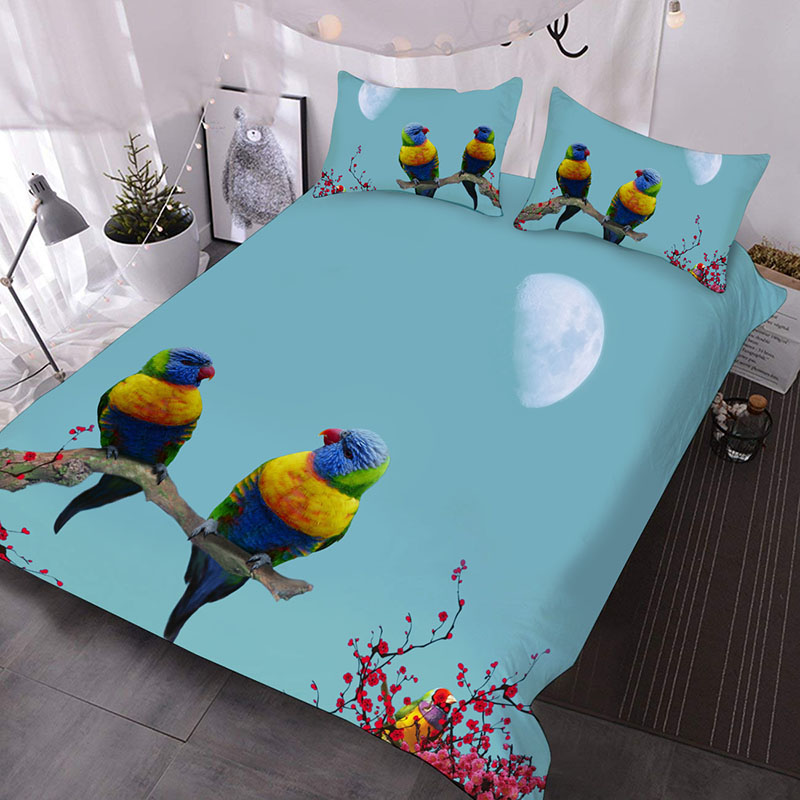 Two Colorful Parrots On The Treetops of A Red Plum Tree 3D Printed 3-Piece Polyester Comforter Sets