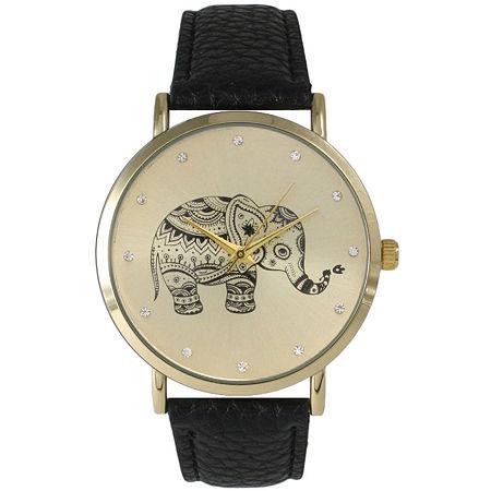 Olivia Pratt Womens Rhinestone Accent Elephant Dial Black Leather Watch 26411Black, One Size , No Color Family