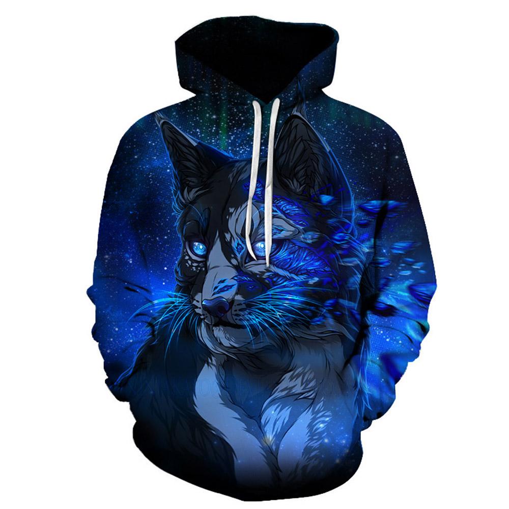 Beddinginn Casual Animal Thick Print Pullover Men's Hoodies