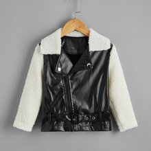 Toddler Girls Spliced Sherpa PU Biker Jacket