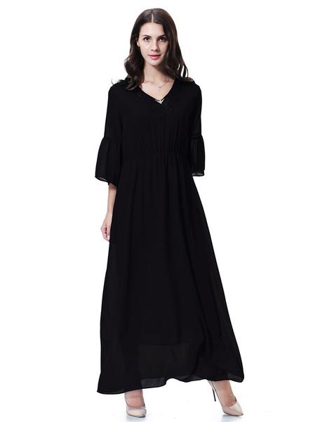 Milanoo Chiffon Abaya Dress Flared Sleeve Lace V Neck Muslim Dress