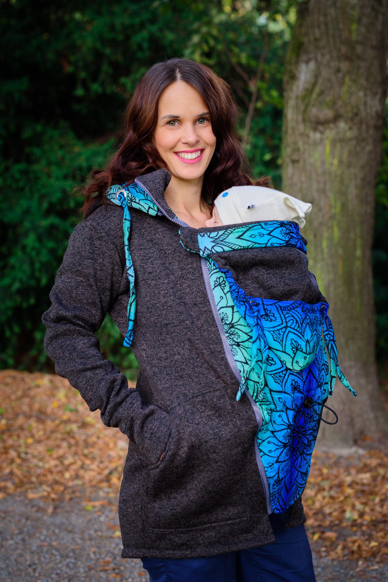 Baby Wearing Black Sweater - Be Lenka Mandala - Polar carrying sweatshirt with 2 in 1 scarf insert l