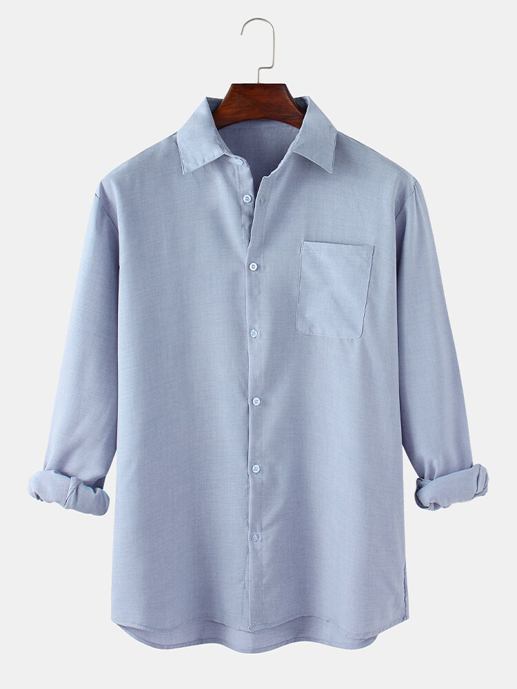 Mens Linen Solid Color Relaxed Fit Basic Long Sleeve Shirts With Pocket