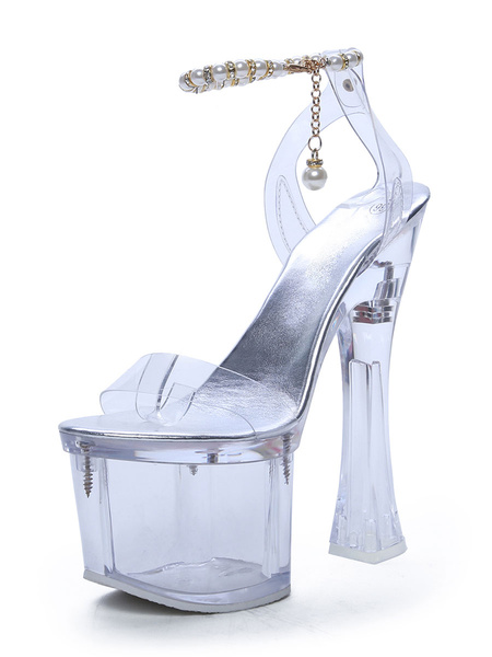 Milanoo Sexy Sandals For Woman Transparent PU Leather Square Toe Pearl Ankle Strap Platform Sexy Sandals