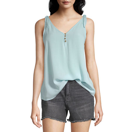 a.n.a Womens V Neck Sleeveless Tank Top, Small , Blue