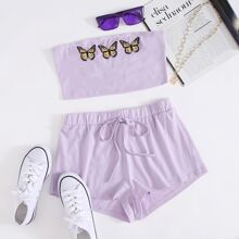 Butterfly Print Bandeau Top & Knot Waist Shorts Set