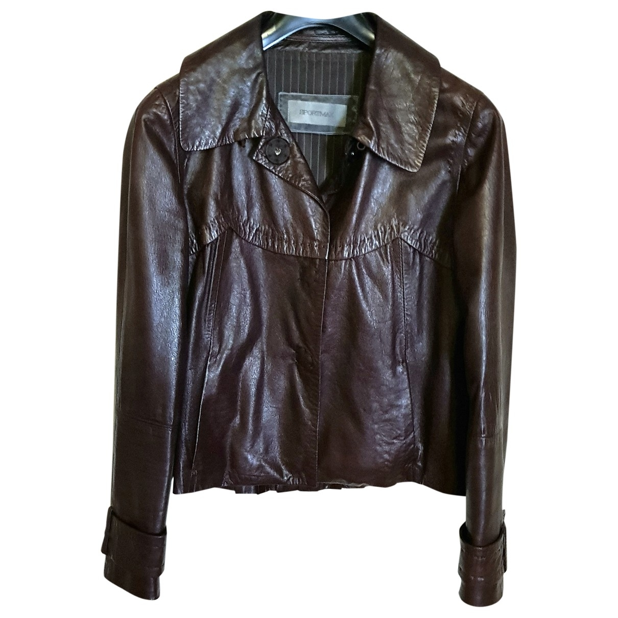 Sport Max \N Brown Leather Leather jacket for Women 42 IT
