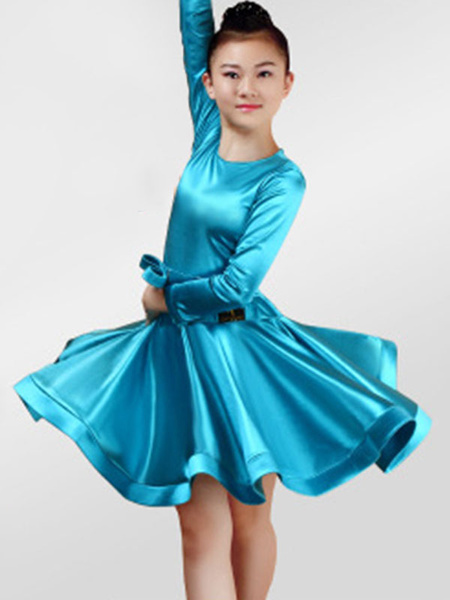 Milanoo Dance Costumes Latin Dancer Dresses Kids Satin Long Sleeve Round Neck Ballroom Dancing Wears For Girls Halloween