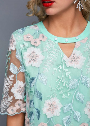 Keyhole Neckline Faux Pearl Embellished Embroidered Blouse - S