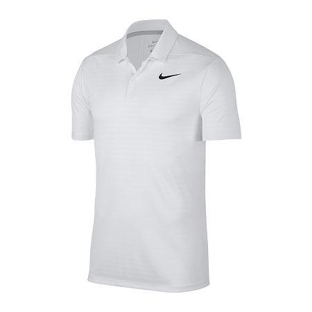 Nike Dri-Fit Essential Shadow Stripe Mens Short Sleeve Polo Shirt, Small , White