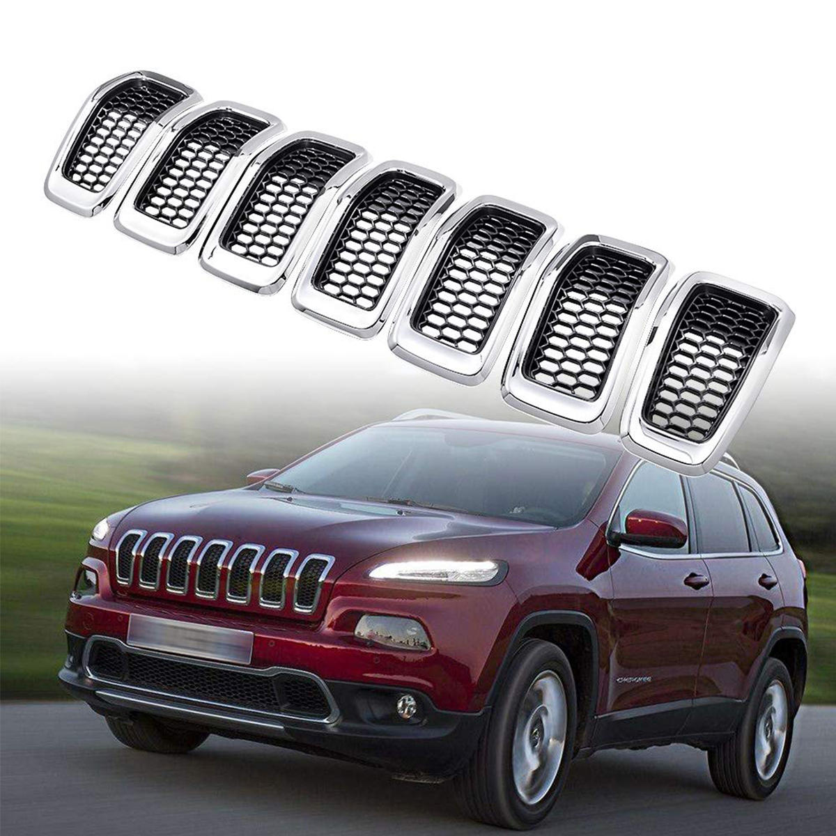Front Glossy Black Chrome Replacement Inserts Grille For Jeep Cherokee 2014-2018