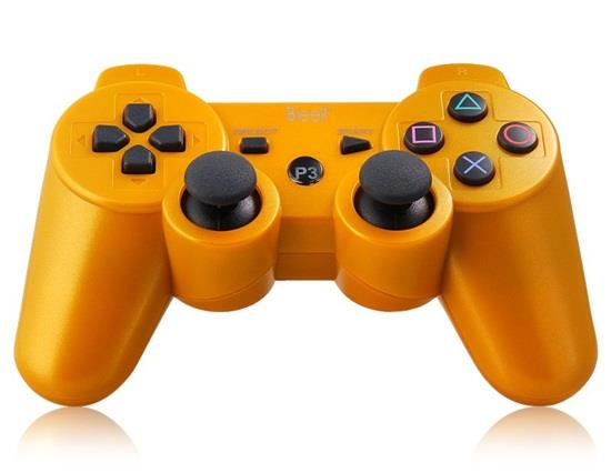Six-Axis DualShock Wireless Bluetooth Gamepad for PlayStation 3 Controller - Gold