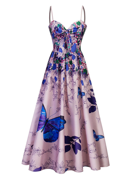 Milanoo Long Vintage Dress Straps Knotted Butterfly Printed Summer Dress