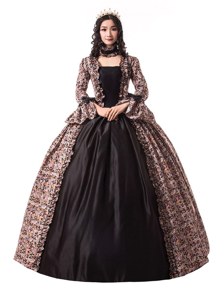 Milanoo Victorian Dress Costume Women's Black Gold Trumpet Long Sleeves Ruffle Floral Print Ball Gown Victorian Era Style Set with Choker Vintage Clot