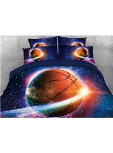 Vivilinen Galaxy Basketball Printed 4-Piece 3D Blue Bedding Sets/Duvet Covers