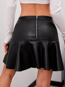 Zip Back Flounce Hem PU Leather Skirt