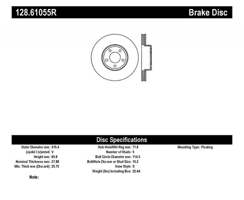 StopTech 128.61055R Sport Cross Drilled Brake Rotor; Front Right Ford Crown Victoria Front Right 1998-2002