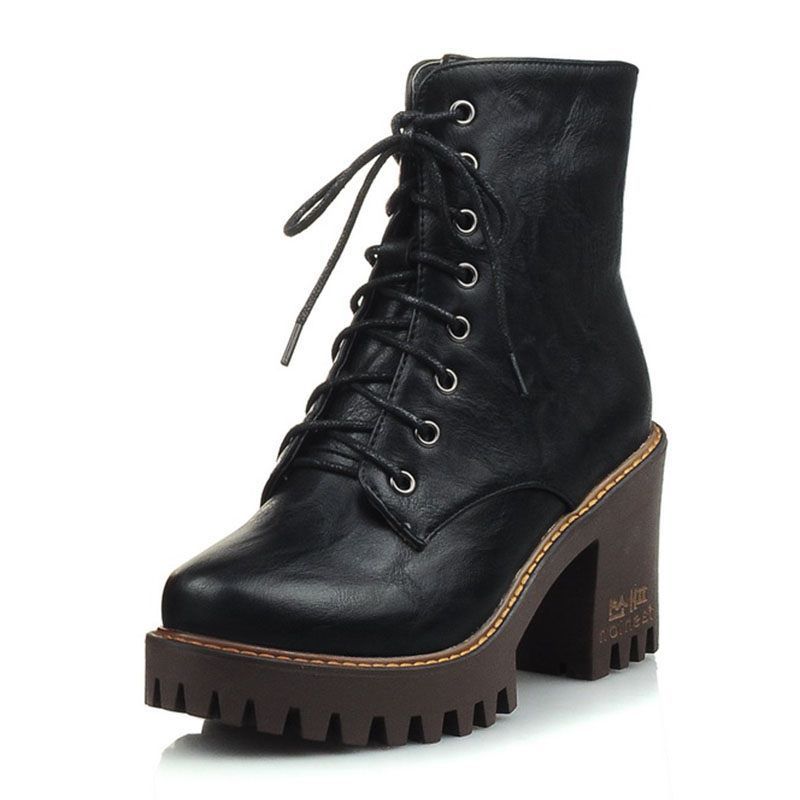 Ericdress PU Chunky Heel Round Toe Women's Ankle Boots