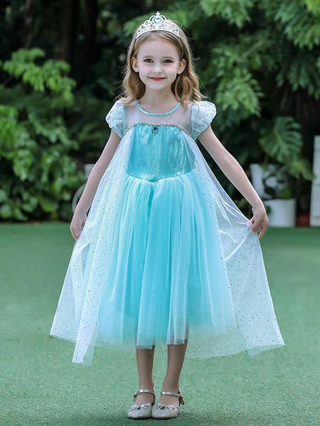 Milanoo Flower Girl Dresses Frozen Elsa Jewel Neck Short Sleeves Pleated Kids Party Dresses