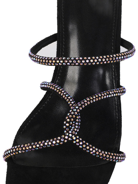 Milanoo Womens Black Sandals Block Heel Crystal Open Toe Strappy Slippers Shoes