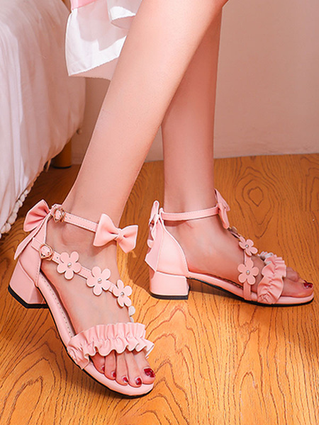 Milanoo Sweet Lolita Sandals Pink Bows Ruffles Flower PU Leather Lolita Summer Shoes