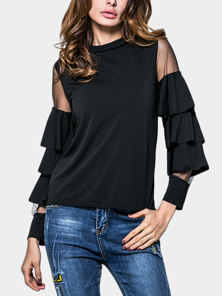 Yoins Black Pullover Flared Sleeves Mesh Design Top