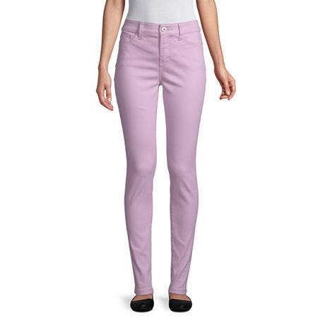 St. John's Bay Womens Mid Rise Skinny Fit Jean, 12 , Purple