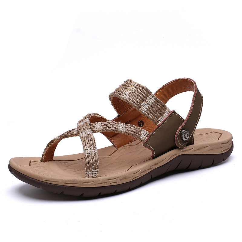Men Comfy Leather Slip Rseistant Wearable Outdoor Casual Sandals