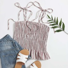 Striped Shirred Knotted Cami Top