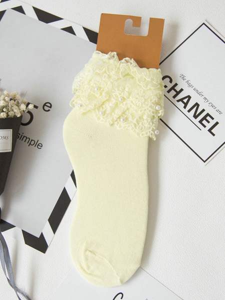 Milanoo Classic Lolita Socks Lace Pearls Layered Ruffles White Lolita Socks