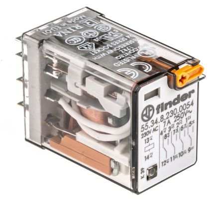 Finder , 230V ac Coil Non-Latching Relay 4PDT, 7A Switching Current Plug In, 4 Pole