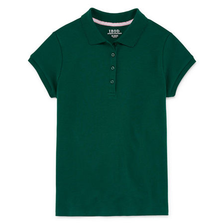 IZOD Little & Big Girls Short Sleeve Stretch Polo Shirt, 6/6x , Green