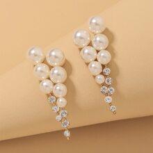 Faux Pearl Decor Stud Earrings