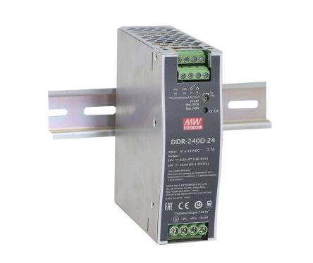 Mean Well DDR-240 240W Isolated DC-DC Converter DIN Rail Mount, Voltage in 16.8 → 33.6 V dc, Voltage out 48V dc