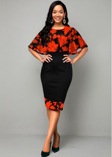 Red Dresses Round Neck Cape Sleeve Printed Dress - M