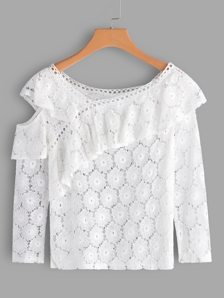 Yoins White See Through Lace Details Cold Shoulder Long Sleeves Blouse