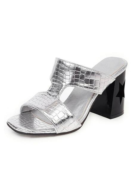 Milanoo Womens Block Heel Sandals Shoes Silver Open Toe heel Slippers Plus Size Shoes