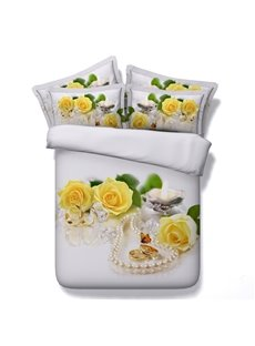 Yellow Roses and Butterfly Printed Cotton 4-Piece 3D Bedding Sets/Duvet Covers