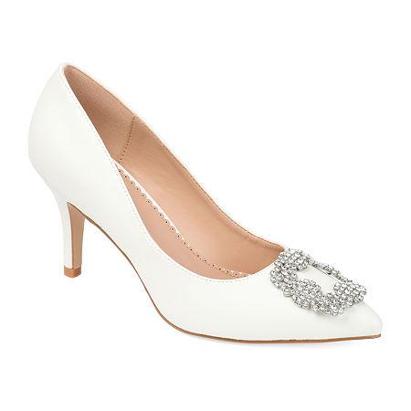 Journee Collection Womens Izzie Pumps Stiletto Heel, 12 Medium, White