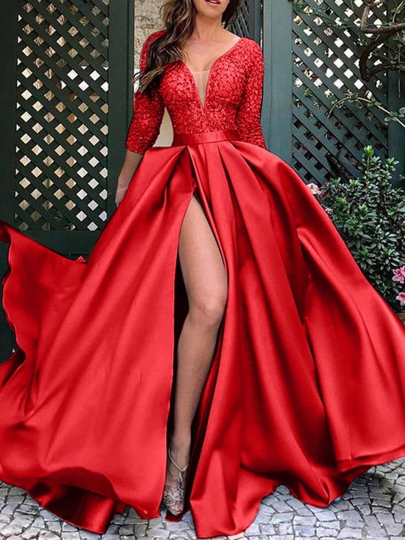 Ericdress V-Neck Floor-Length Three-Quarter Sleeve Pullover Fashion Dress