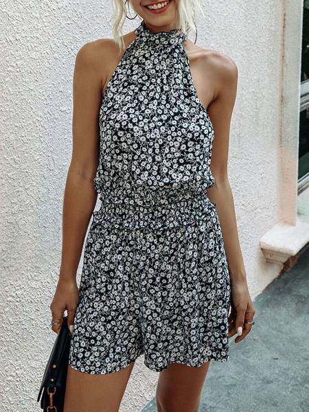 Milanoo Floral Romper Shorts Sleeveless Straight Leg Summer Playsuit
