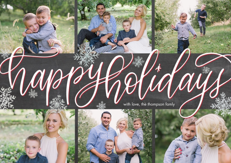 Holiday Photo Cards 5x7 Cards, Premium Cardstock 120lb with Elegant Corners, Card & Stationery -Holiday Script Snowflakes by Tumbalina