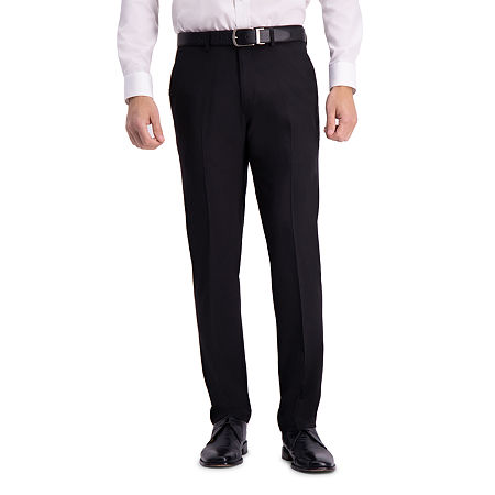 Haggar Active Series Straight Fit Flat Front Dress Pant, 30 30, Black